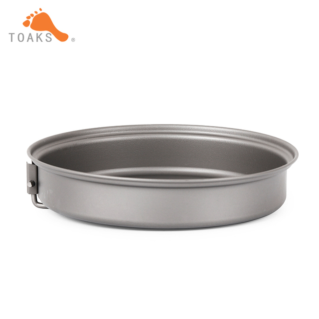 TOAKS Titanium Outdoor Cookware Set With Folding Handle Diameter 145mm Eco-friendly Ultralight Portable Titanium Pan PAN-145