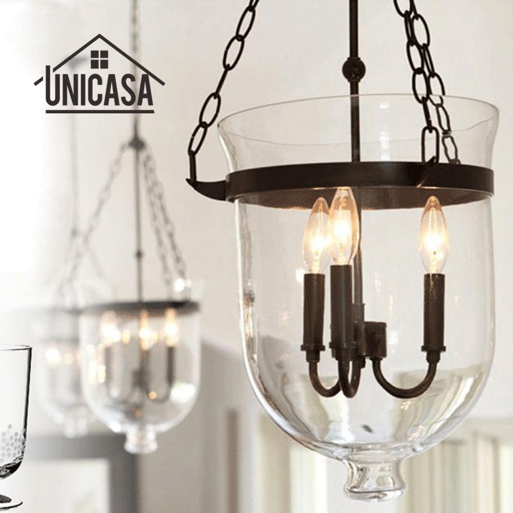 Glazen hanglampen Zwart metaal Industriële verlichting Woonkamer Bar - Binnenverlichting