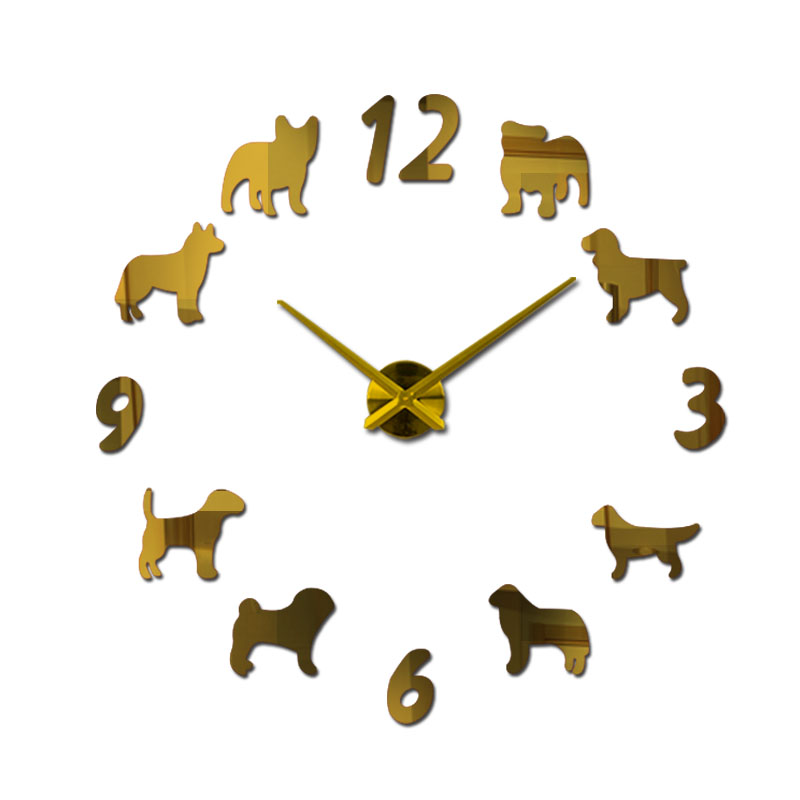 018 Clock Watch Wall Clocks Horloge 3D Dog Pattern Acrylic Mirror Stickers Modernhome Decoration Living Room Quartz