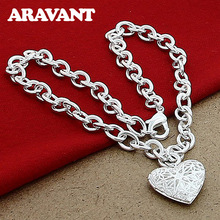 New Fashion 925 Jewelry Heart Frame Photo Pendant Necklaces For Women Wedding Fashion Silver Plated Jewelry new fashion silver color jewelry high quality fashion 925 silver jewelry heart pendant necklaces