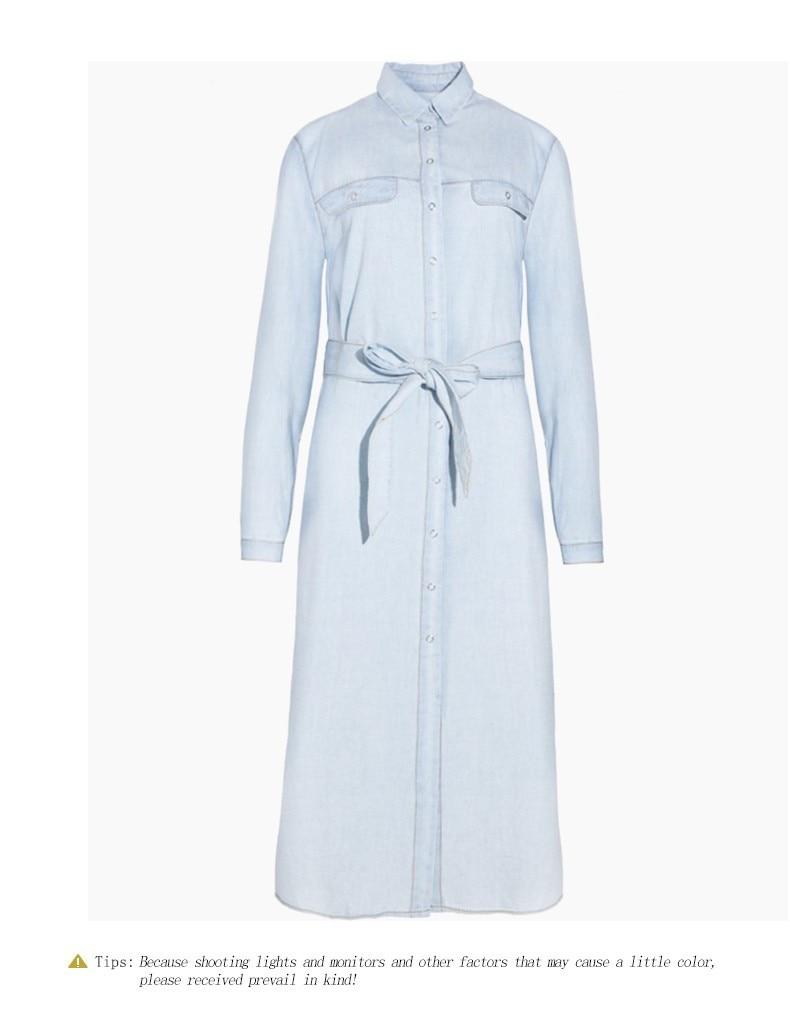 HDY Haoduoyi Women Retro Dress Denim Front Belt Casual Vintage Blue Solid Midi Shirt Robe Femme Vestido Hot Sale 8