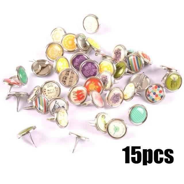 Смешанный узор Круглые Diy штифтики для скрапбукинга, украшение на застежке Брэд металлические изделия для украшения 28 Дизайн выбор cp2241 - Цвет: 15x15mm 15pcs