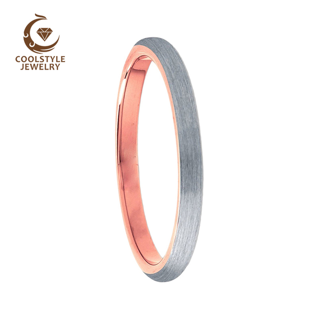 2mm Rose Gold Tungsten Carbide Matte Plain Engagement Wedding Rings