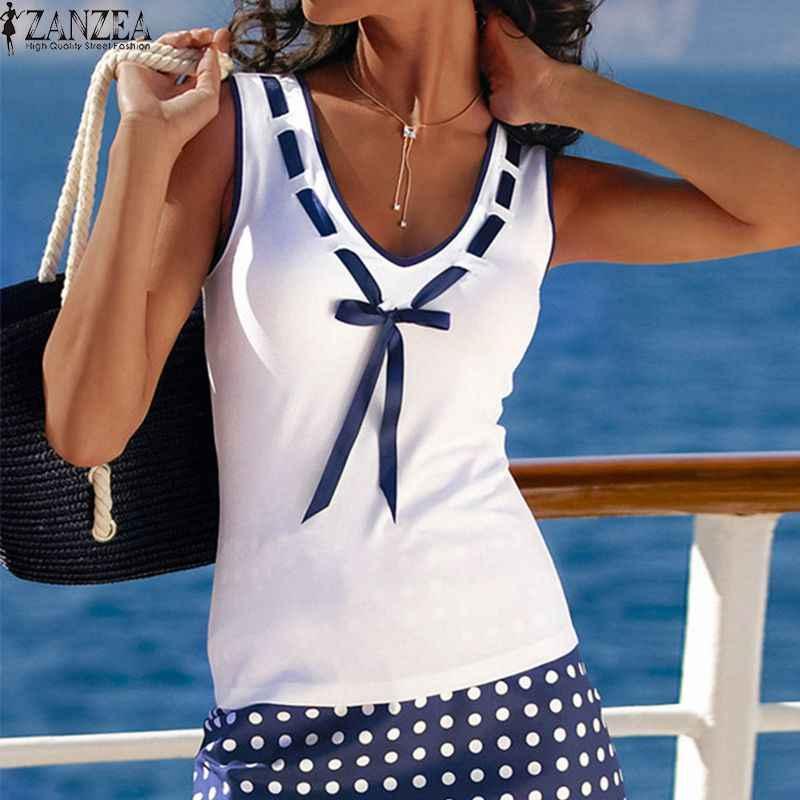 ZANZEA 2019 летняя футболка женская Blusas Повседневная футболка с v-образным вырезом и бантом без рукавов эластичные хлопковые топы футболки блузка большого размера Feminina