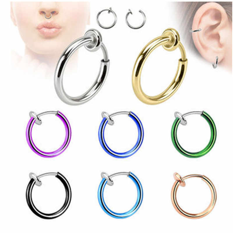 MISANANRYNE Non pierced ear clip painless metal ear hanging earrings 13MM clip on earrings For Women 12 Colors Dropshipping