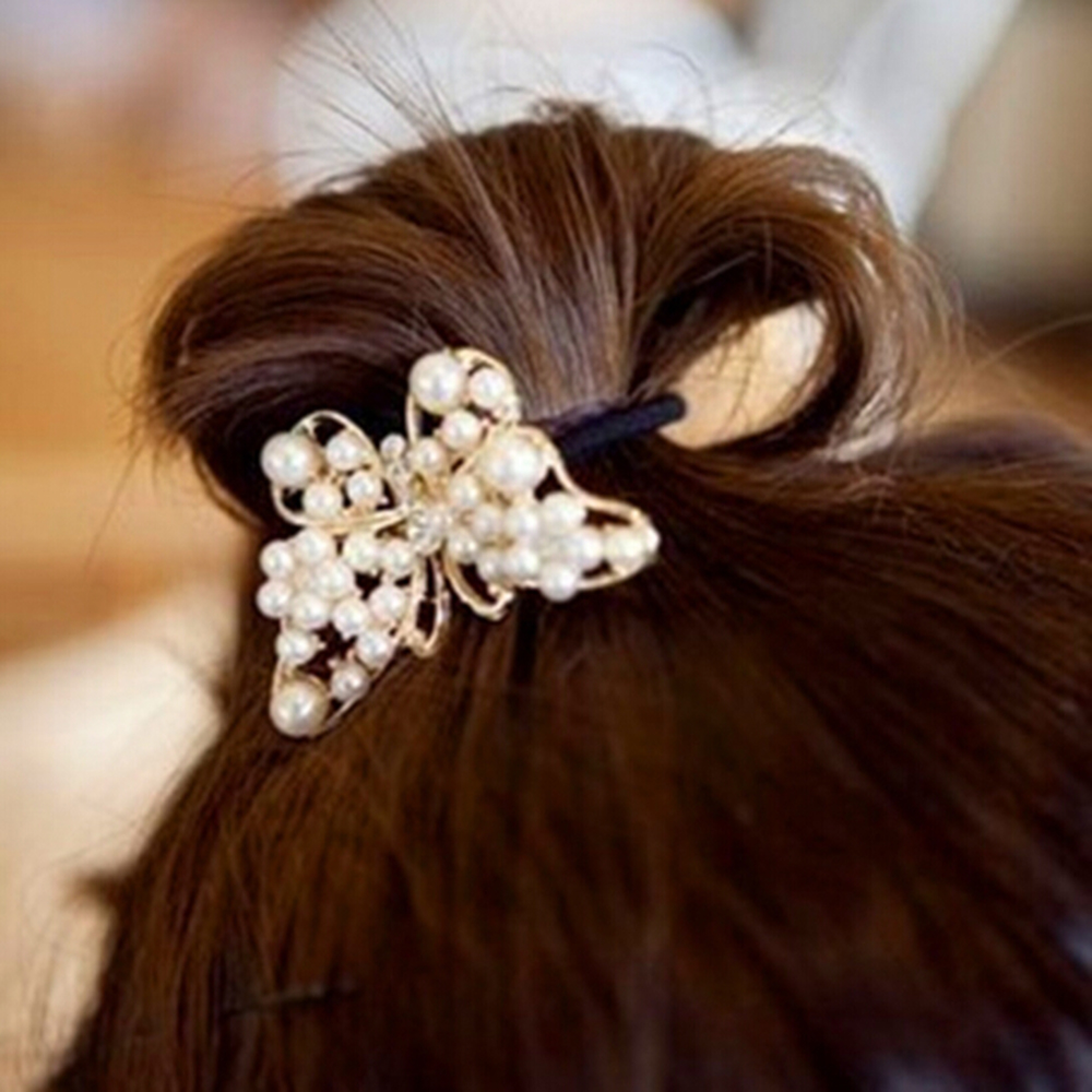 Women Imitation Pearls Butterfly Hair Rope Scrunchies Crystal Rubber Headband Ponytail Gum Elastic Hair Bands Hair Accessories