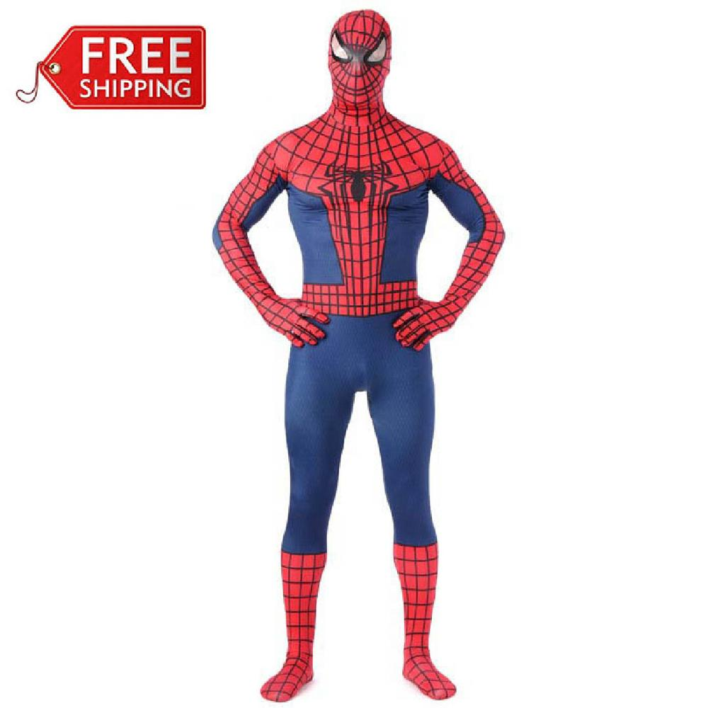 Red <font><b>Spiderman</b></font> <font><b>costume</b></font> <font><b>adult</b></font> halloween <font><b>costumes</b></font> for men Superhero cosplay full Bodysuit zentai fancy dress <font><b>plus</b></font> size custom