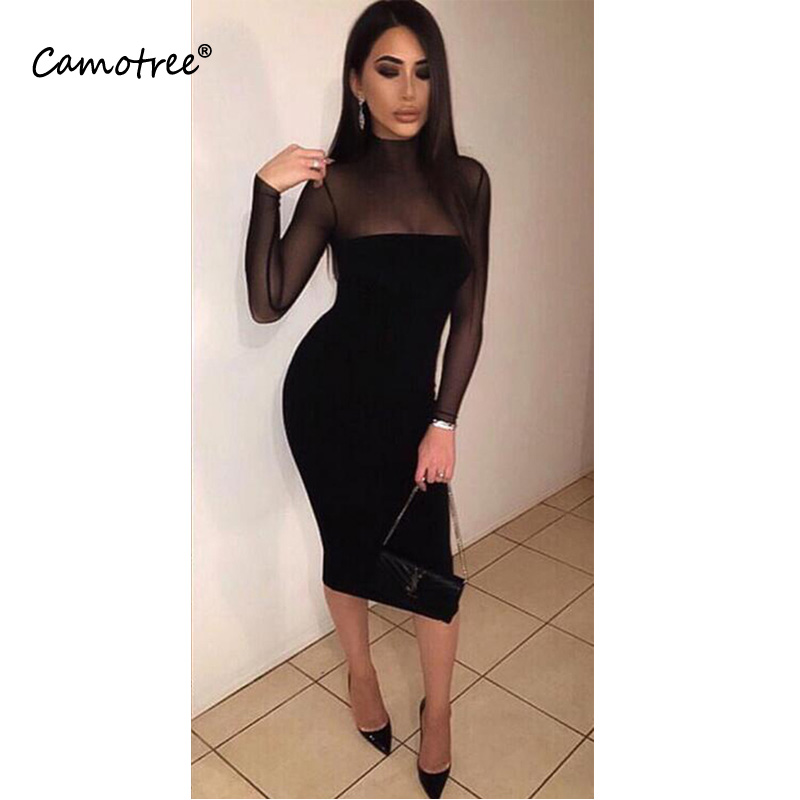 Sexy Turtleneck Empire Pencil Dress See Through Mesh Patchwork Sheath Dress Black Faux Leather Bandage Dress Party Vestidos Women's Clothing