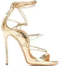 Gold  Lace-up  Python Printed Sandal