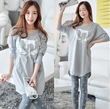 Lady Autumn Summer style Lovely dog grey big size Cotton maternity clothes Pajama Set for pregnant maternity sleepwear