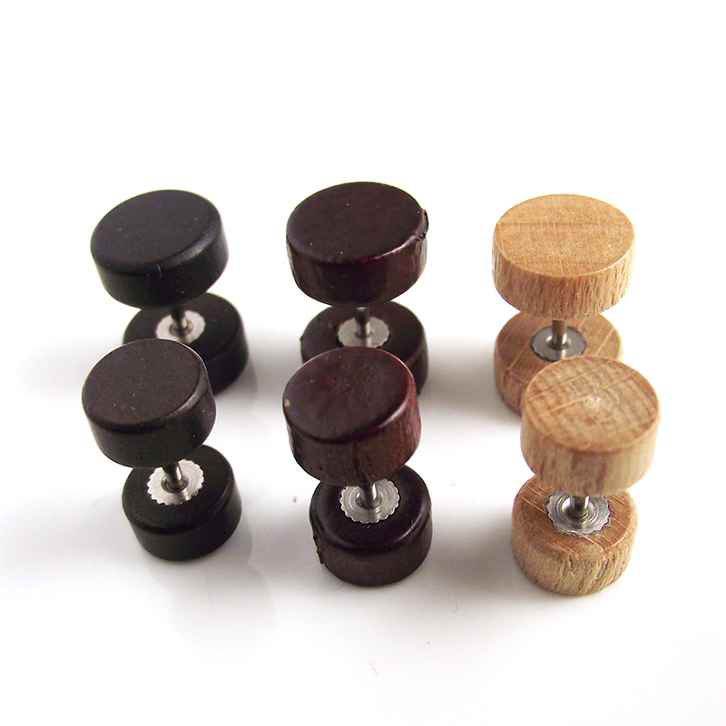 1f3f3fc22 2 Pieces Free Shipping Wood Fake Ear Plug Flesh Plugs Stud Earring Cheater  Tapers Illusion Piercing Body Jewelry Men Women