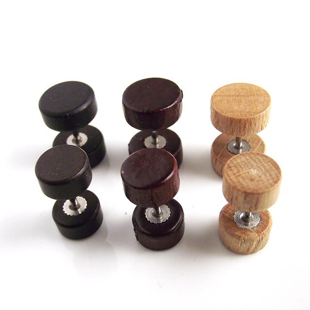 Wood Flesh Plugs Stud Earring for Men and Women