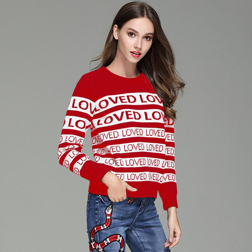 Brand Runway Sweaters Women Red Striped LOVED Sweater Pullovers Embroidery  Jacquard jersey mujer invierno 2018 pull femme hiver 9fb44f4e6517