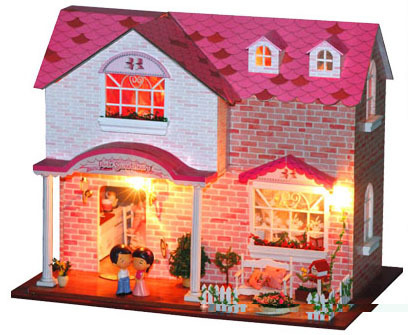 A003 Hongda large diy wooden dollhouse villa doll house (sent dolls and kittens) miniatures for decoration miniature Model Toys a doll s house and other plays