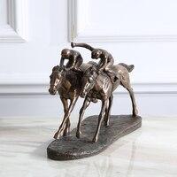 Американский офис мягкая отделка стол рабочего стиль античная медь скульптуры коня новоселье подарок