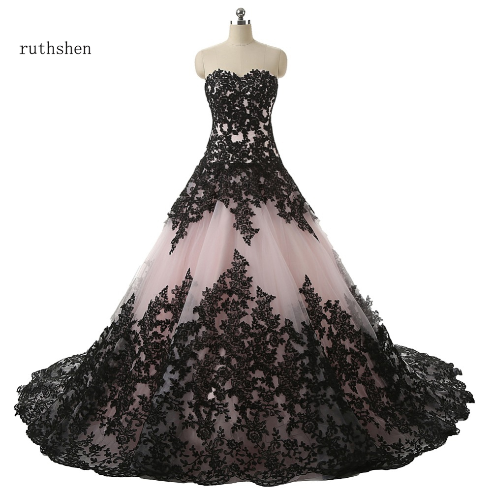 ruthshen Ball Gown Wedding Dresses With Sweetheart Black Lace Appliques Draped Lace Up Robe De Mariee