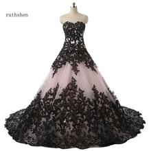 Robe De bal ruthshen robes De mariée avec chérie dentelle noire Appliques drapé à lacets Robe De mariée Manche Longue