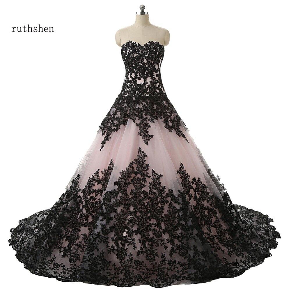 Robe De mariée Robe De bal ruthéshen avec Appliques en dentelle noire à lacets drapés Robe De mariée Manche Longue