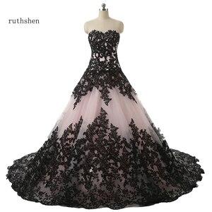 Image 1 - Ruthshen/бальное платье; Свадебные платья с милым черным кружевом с аппликацией и драпировкой; Robe De Mariee Manche Longue