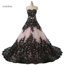 Vestido De novia ruthshen, vestido De novia con escote en V, negro, Apliques De encaje drapeados, vestido De novia De manga larga