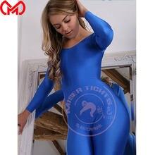 Justaucorps à manches longues en Lycra brillant pour femme, combinaison Sexy, collant moulant, vêtement de danse, F76