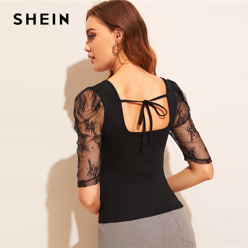 SHEIN Lace Puff Sleeve Tie Back Top 2019 Black Stretchy Women Clothes Summer Tee Slim Fit Half Puff Sleeve Tshirt