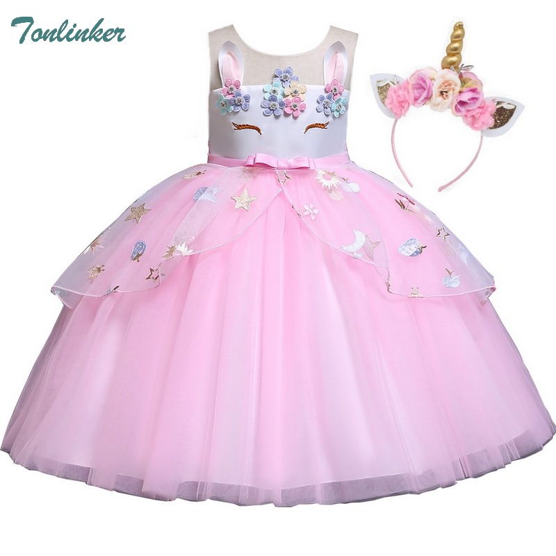 Girls Princess Unicorn Costumes For Kids Unicorn Flowers Tutu Dresses Birthday Theme Party Costumes 2-10 Years Pink Blue Purple