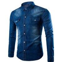 Hot Sale Classic Blue Denim Shirt Fashion Korean Version Blouse Boys Slim Clothes Tide Blusa Young