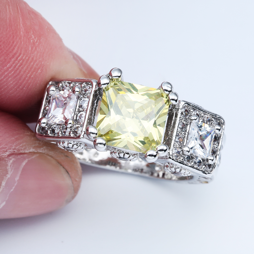 Large Square Yellow Promise Rings Jewelry Princess White Cubic Zircon Women Engagement Ring In From Accessories On
