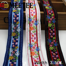 5Yards 3.5cm Polyester Cotton Flower Embroidered Webbing For Bag Straps Women Collar Lace Ribbons Trims Garment Accessories