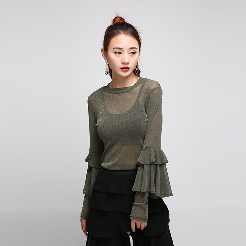 Sexy malla perspectiva camisa de volantes de manga larga blusa camisas mujeres g