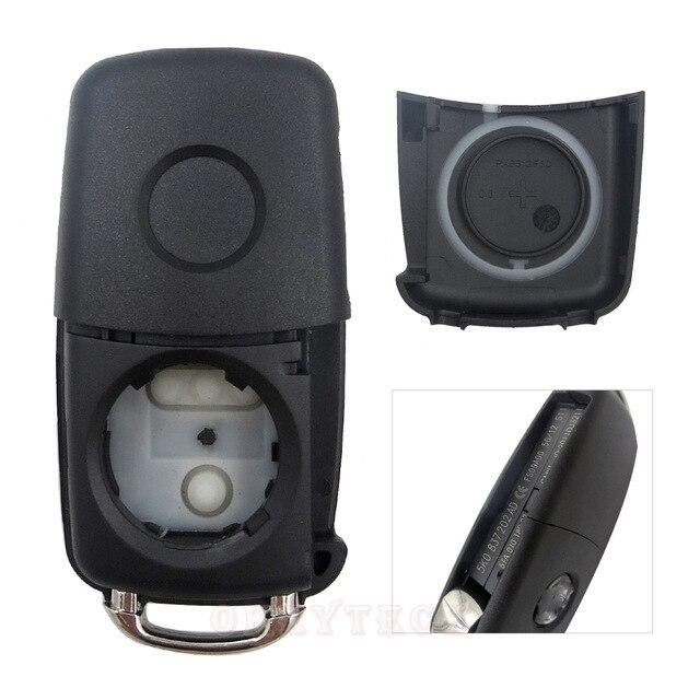 3 boutons pliant clé de voiture Switchblade clé Flip clé Shell pour VW polo passat b5 Tiguan Golf VOLKSWAGEN siège Skoda clé automatique blanc 3