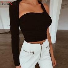 InstaHot Seksi Bir Kollu Pamuk Düz Kırpma Üstleri Kadın Rahat Bir Omuz Backless T Shirt Zarif Sıkı Siyah Kıyafetler Tees