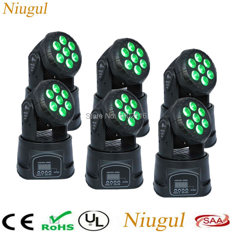 6pcs/lot 7x12W RGBW 4in1 LED Moving Head Light/DMX Stage Wash Light /DJ Equipment Disco KTV Club Lighting/Wedding Holiday Lights 6pcs lot white color 132w sharpy osram 2r beam moving head dj lighting dmx 512 stage light for party