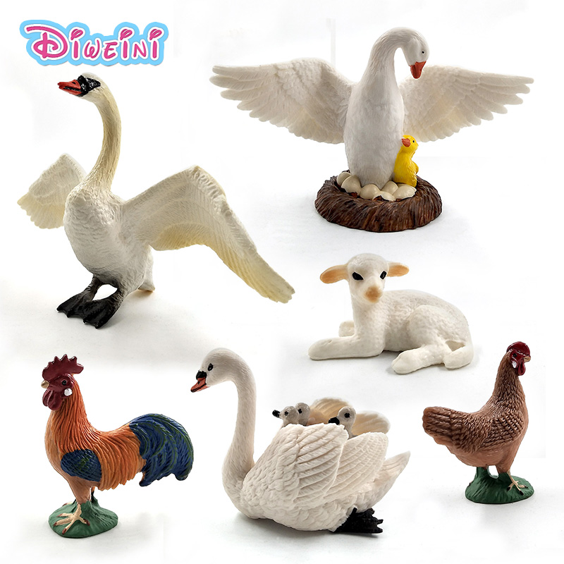 Artificial Little Lamb Swan Cock Rooster Chicken Sheep Hen Animal Model Figure Plastic Decoration Educational Toy Gift For Kids