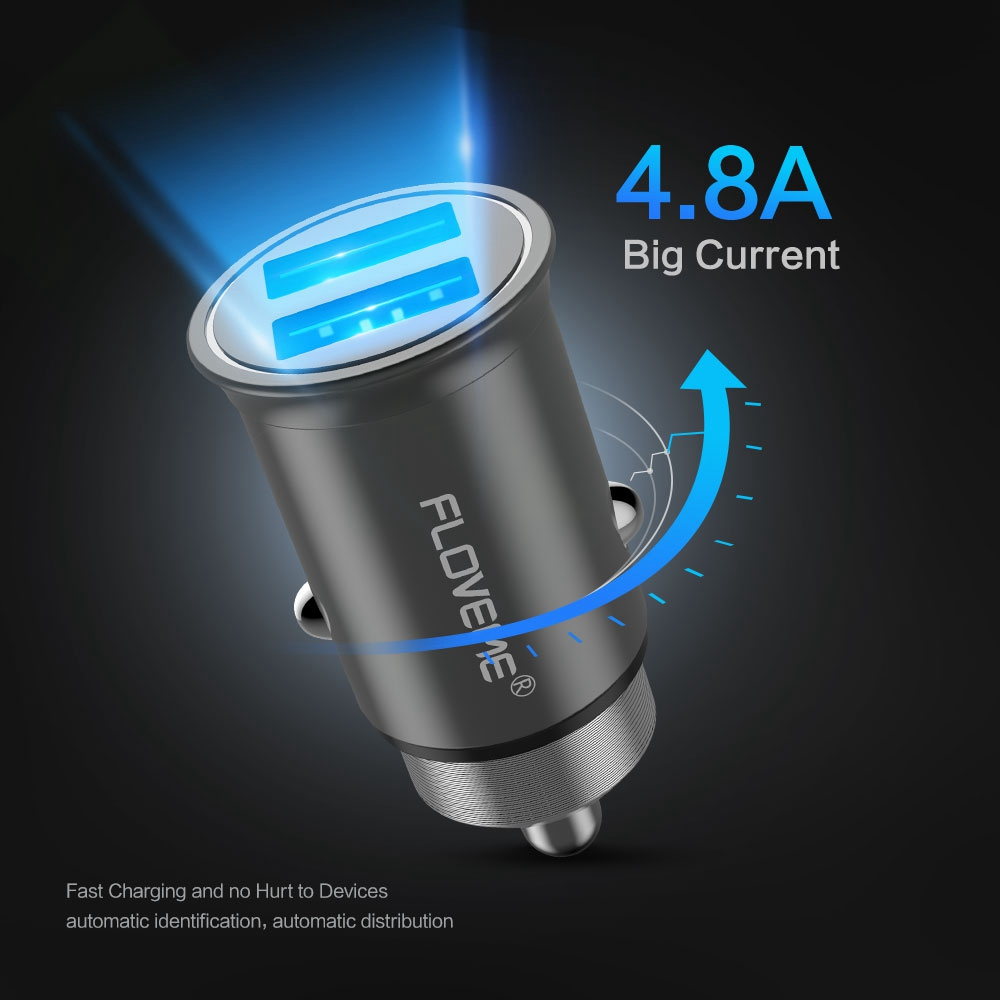 FLOVEME Aluminum Dual USB Car Charger 5V 4.8A Portable Mini Fast Charging Car-charger For iPhone X 7 6 Mobile Phone USB Chargers