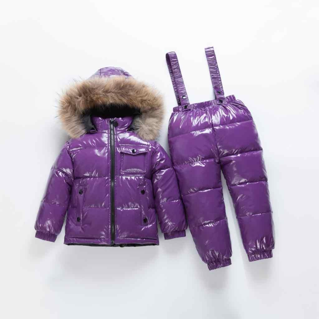 -40 ベビービッグリアル毛皮の襟ダウンジャケット + ストラップダウンセット冬のボーイズ & ガールズ防風ロシアダウンセット子供スキーセット