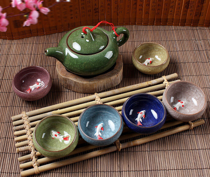 Kung Fu Tea Set Seven piece Ceramic Tea Sets TeaCup ChineseTravel Tea Set Drinkware Coffee Tea