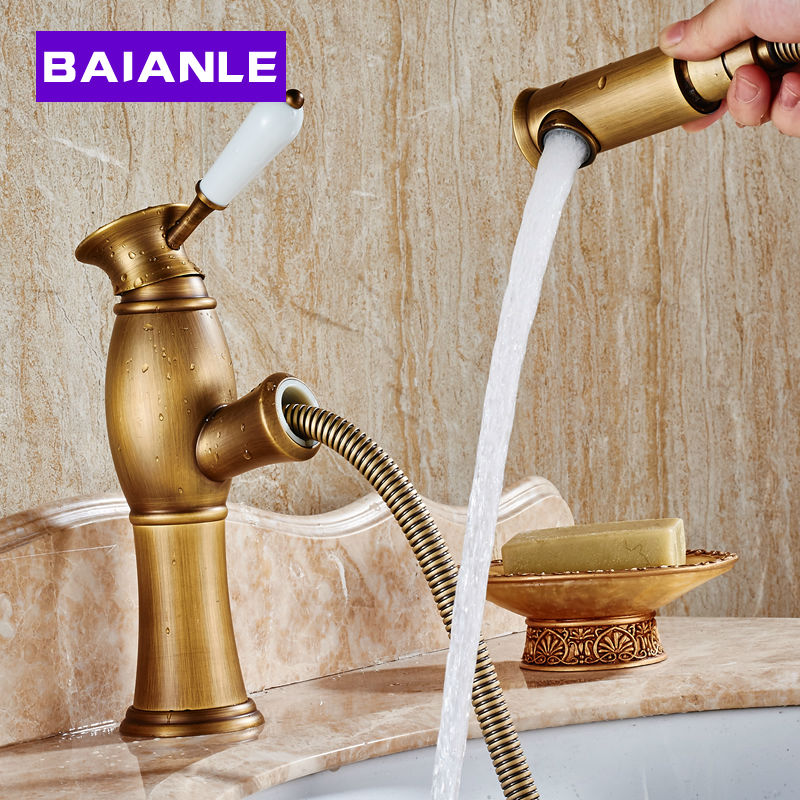 High Quality Pull Out Down Spout Spray Head  Brass Bathroom Basin Faucet Tap Antique/Gold Finish Kitchen Mixer Taps 2017 wholesale new premium high quality gold bidet mixer faucet taps