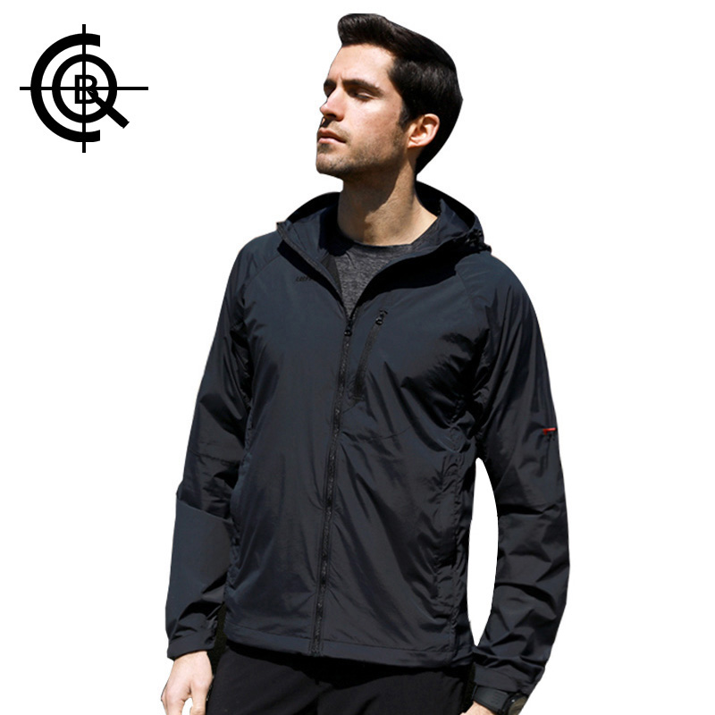 CQB Spring Summer Hooded Sunscreen Jacket Men Light Sports UPF40 Ultraviolet-proof Breathable Outdoor Jacket   LYF0443
