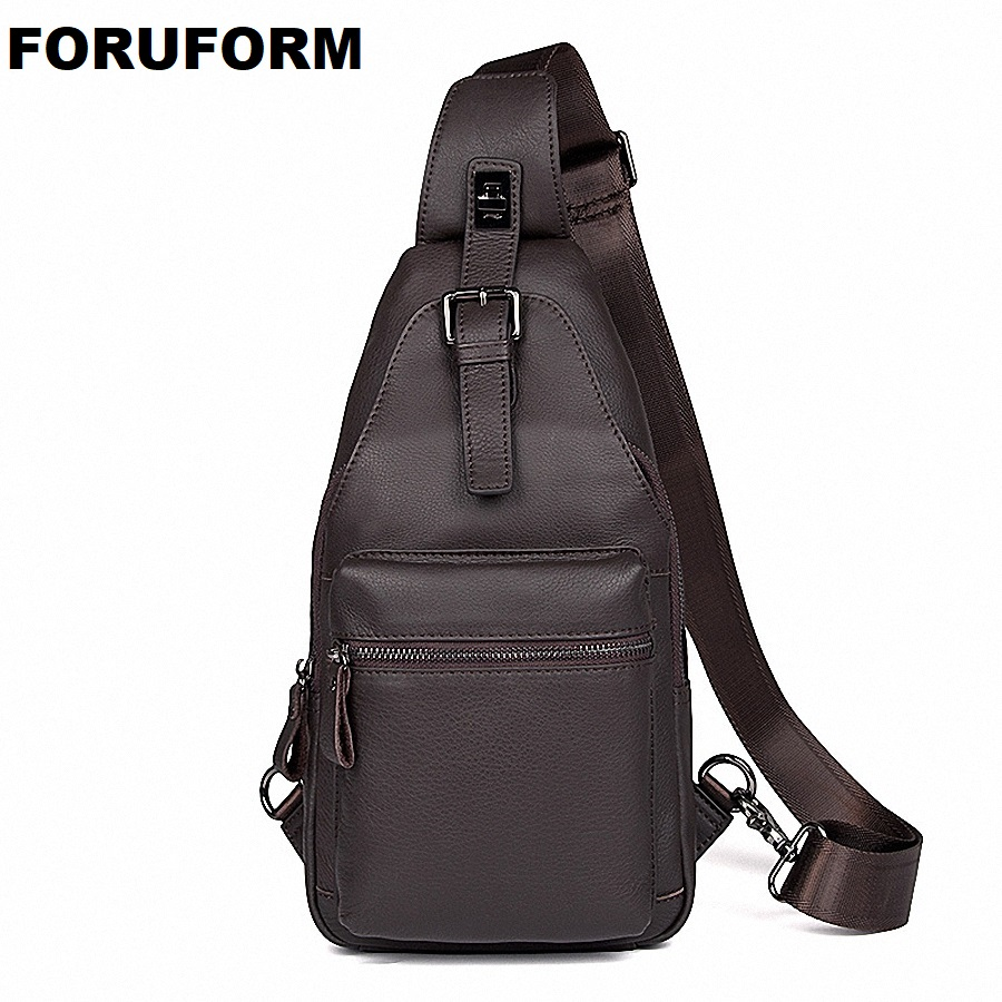 Men Shoulder Bag Small Genuine Leather Bag Strap Sling Men Messenger Bags Leather Business Chest Pack Mens Chest Bags LI-2091 formatter pca assy formatter board logic main board mainboard mother board for samsung sl m2070 sl m2071 2070 m2070 jc92 02688b