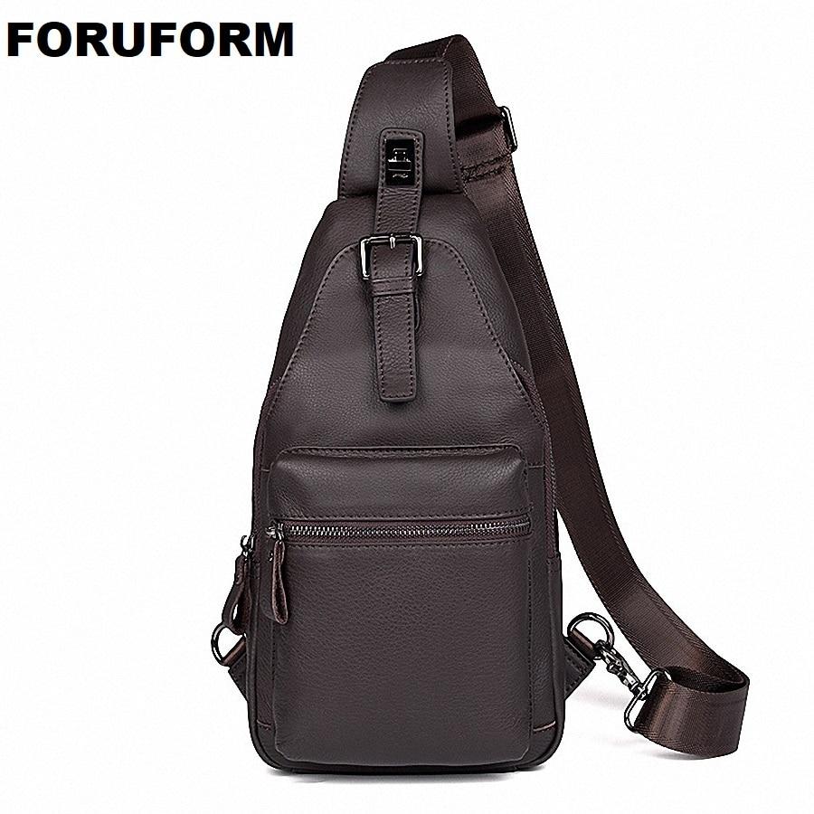 Men Shoulder Bag Small Genuine Leather Bag Strap Sling Men Messenger Bags Leather Business Chest Pack Mens Chest Bags LI-2091