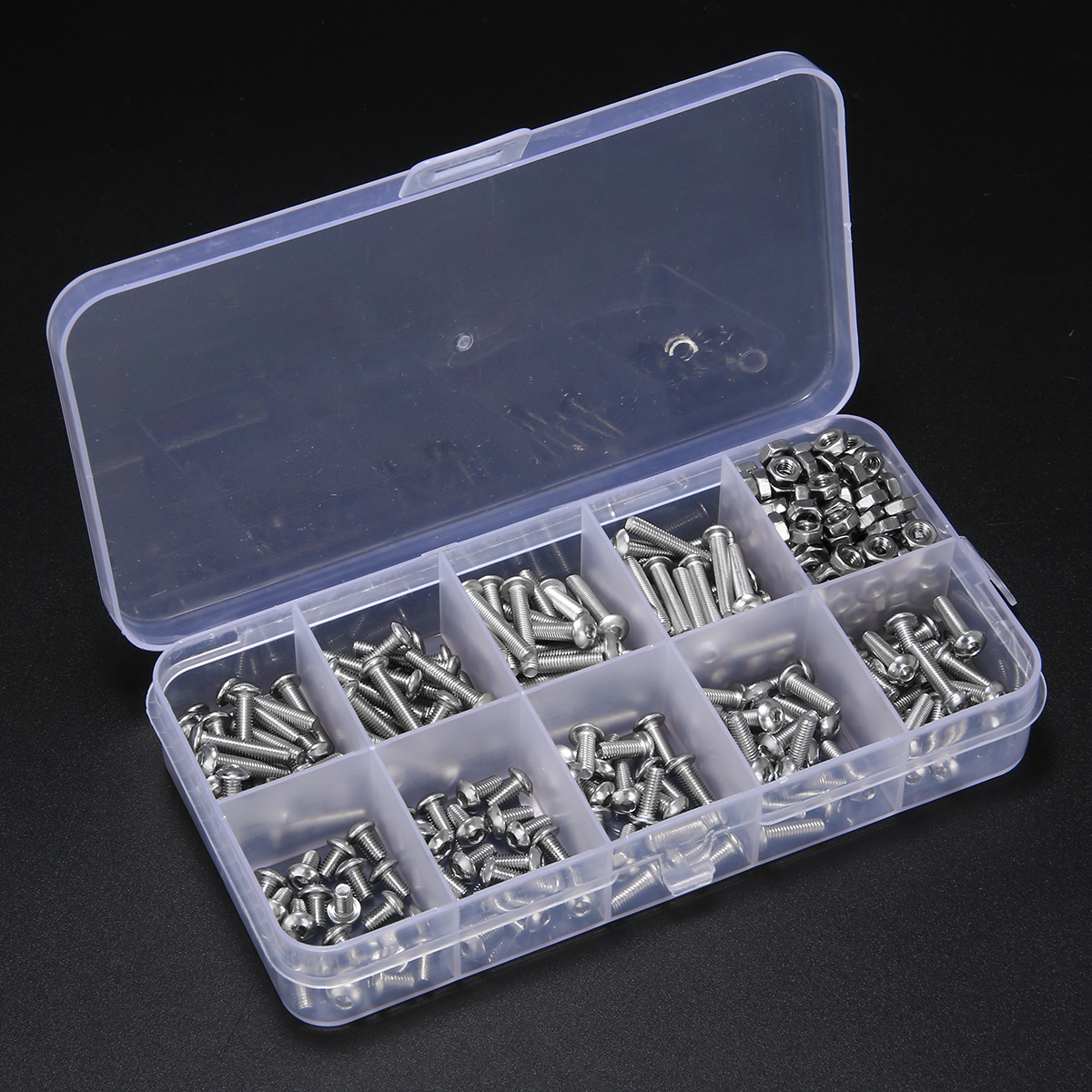 340pcs Assorted Stainless Steel M3 Screw 5/6/8/10/12/14/16/18/20mm with Hex Nuts Bolt Cap Socket Set