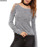 RIUOOPLIE Women Casual Long Sleeve Tee Shirt Ladies Grey Marled Crisscross Hollow Out Open Shoulder T