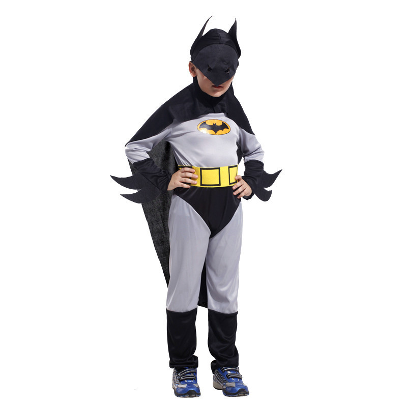 Hot Sale Child Boy Batman Jumpsuit DC Comic Superhero Movie Cosplay Fancy Dress Halloween Carnival Party Costumes
