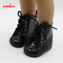 Black Lace Up PU Martin Boots Shoes for 18inch American Girls Dolls