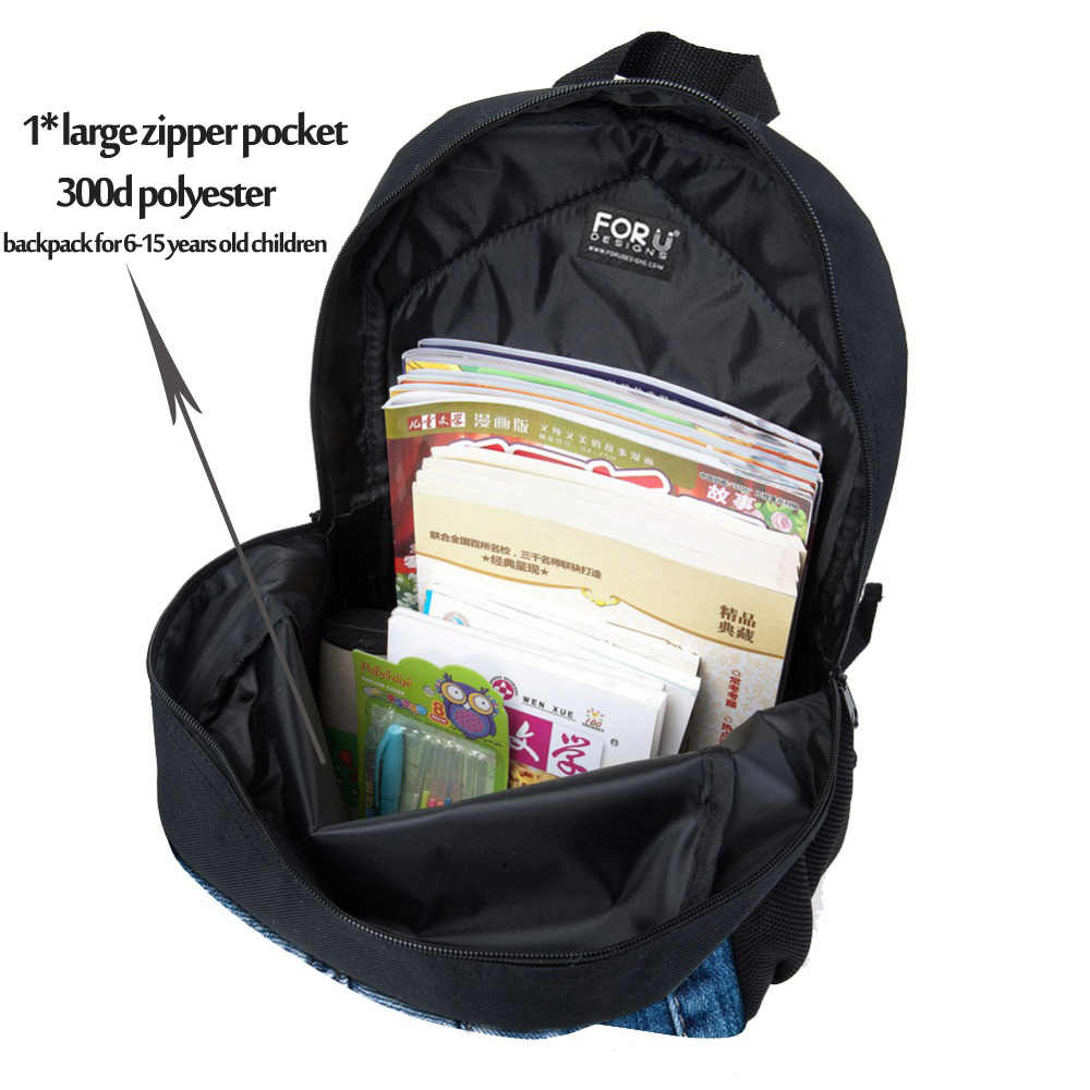 fea15820c7 ... Backpack Childrens School Bags for Teenage Girls Cute Denim Cat Dog  Schoolbags Kids Bookbag 3D Cartoon ...