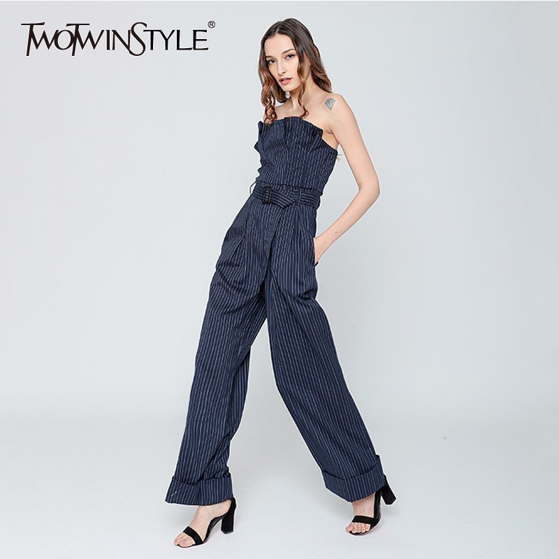 TWOTWINSTYLE Striped   Jumpsuits   Female Ruffles Strapless Belt High Waist Long Wide Leg Trouser Womens Spring Fashion OL Clothing