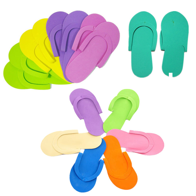 Mayitr 6pairs Disposable Foam Slippers High Quality Spa Pedicure Flip Flop Assorted Colors For Salon Foot Care Tool
