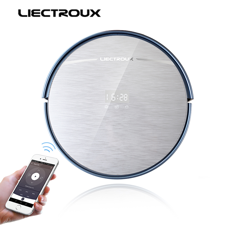 LIECTROUX X5S Robot Vacuum Cleaner, WIFI APP Control,Gyroscope Navigation,Switchable Water Tank & Dust Bin,Schedule,Auto Charge liectroux x5s robotic vacuum cleaner wifi app control gyroscope navigation switchable water tank
